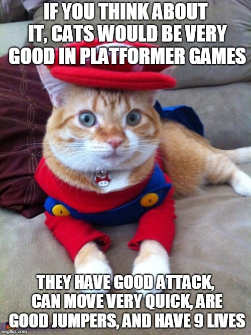 Cats would be very good in platformers. Maybe even better than Mario. | IF YOU THINK ABOUT IT, CATS WOULD BE VERY GOOD IN PLATFORMER GAMES THEY HAVE GOOD ATTACK, CAN MOVE VERY QUICK, ARE GOOD JUMPERS, AND HAVE 9  | image tagged in video games,cats,mario,funny memes | made w/ Imgflip meme maker
