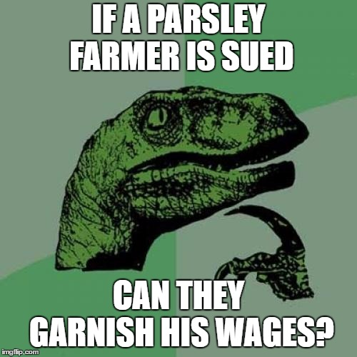 Philosoraptor | IF A PARSLEY FARMER IS SUED CAN THEY GARNISH HIS WAGES? | image tagged in memes,philosoraptor,wages,farmer,random | made w/ Imgflip meme maker