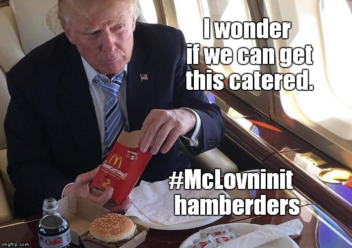 Hamberders | I wonder if we can get this catered. #McLovninit    hamberders | image tagged in trump,hamburger,mcdonalds | made w/ Imgflip meme maker