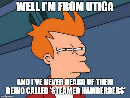 Futurama Fry Meme | WELL I'M FROM UTICA AND I'VE NEVER HEARD OF THEM BEING CALLED 'STEAMED HAMBERDERS' | image tagged in memes,futurama fry | made w/ Imgflip meme maker