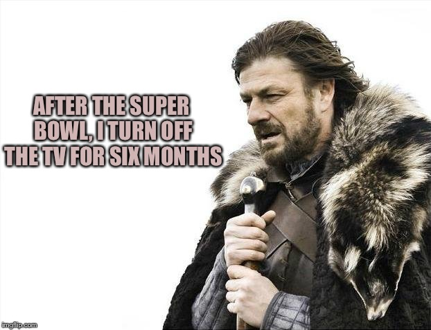 Brace Yourselves X is Coming Meme | AFTER THE SUPER BOWL, I TURN OFF THE TV FOR SIX MONTHS | image tagged in memes,brace yourselves x is coming | made w/ Imgflip meme maker