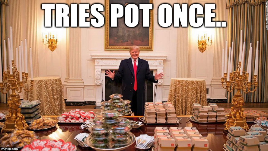 tries pot once | TRIES POT ONCE.. | image tagged in donald trump,trump | made w/ Imgflip meme maker