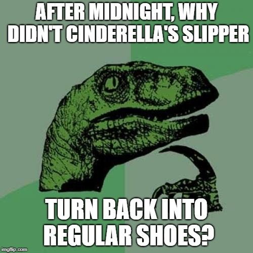 Philosoraptor Meme | AFTER MIDNIGHT, WHY DIDN'T CINDERELLA'S SLIPPER TURN BACK INTO REGULAR SHOES? | image tagged in memes,philosoraptor | made w/ Imgflip meme maker