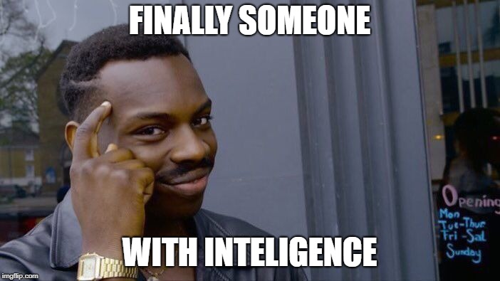 FINALLY SOMEONE WITH INTELIGENCE | image tagged in memes,roll safe think about it | made w/ Imgflip meme maker