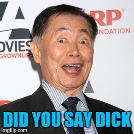 George Takei | DID YOU SAY DICK | image tagged in george takei | made w/ Imgflip meme maker