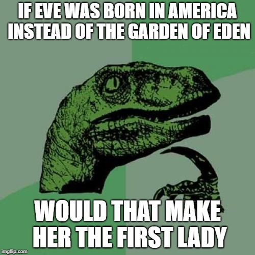 Do you hear that? That's the sound of your mind being blown | IF EVE WAS BORN IN AMERICA INSTEAD OF THE GARDEN OF EDEN WOULD THAT MAKE HER THE FIRST LADY | image tagged in memes,philosoraptor,first lady,adam and eve,garden,america | made w/ Imgflip meme maker