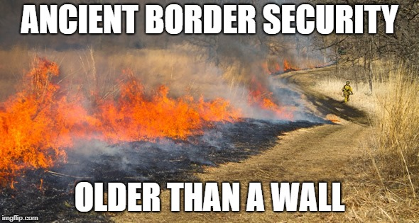 border security | ANCIENT BORDER SECURITY OLDER THAN A WALL | image tagged in burning | made w/ Imgflip meme maker