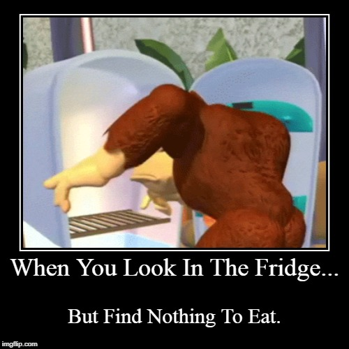 When You Look In The Fridge... | But Find Nothing To Eat. | image tagged in funny memes,donkey kong,refrigerator | made w/ Imgflip demotivational maker