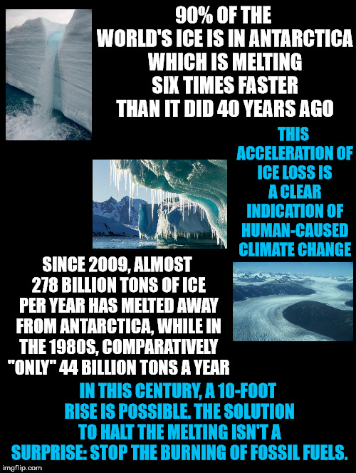 Antarctica, We've Got A Problem  | 90% OF THE WORLD'S ICE IS IN ANTARCTICA WHICH IS MELTING SIX TIMES FASTER THAN IT DID 40 YEARS AGO SINCE 2009, ALMOST 278 BILLION TONS OF IC | image tagged in antarctica,ice,melting,faster,rise,fossil fuels | made w/ Imgflip meme maker