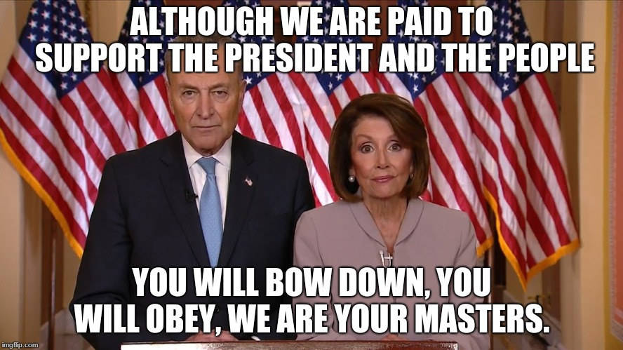 Not funny because it is true. | ALTHOUGH WE ARE PAID TO SUPPORT THE PRESIDENT AND THE PEOPLE YOU WILL BOW DOWN, YOU WILL OBEY, WE ARE YOUR MASTERS. | image tagged in chuck and nancy,obstruction,globalists,votes matter,pure evil | made w/ Imgflip meme maker