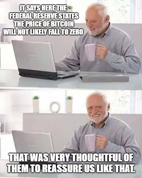 Bitcoin FUD Reserve |  IT SAYS HERE THE FEDERAL RESERVE STATES THE PRICE OF BITCOIN WILL NOT LIKELY FALL TO ZERO; THAT WAS VERY THOUGHTFUL OF THEM TO REASSURE US LIKE THAT. | image tagged in memes,hide the pain harold,bitcoin,btc,fud,federal reserve | made w/ Imgflip meme maker