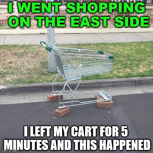shopping in the hood | I WENT SHOPPING ON THE EAST SIDE I LEFT MY CART FOR 5 MINUTES AND THIS HAPPENED | image tagged in memes,shopping,thug life,funny,crime | made w/ Imgflip meme maker