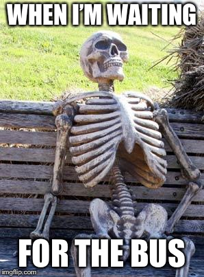 Waiting Skeleton Meme | WHEN I'M WAITING FOR THE BUS | image tagged in memes,waiting skeleton | made w/ Imgflip meme maker