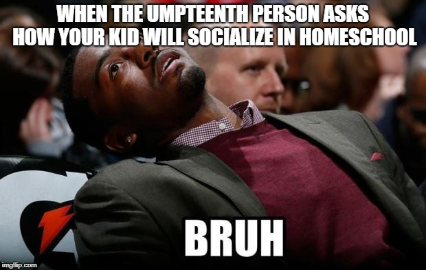 Bruh | WHEN THE UMPTEENTH PERSON ASKS HOW YOUR KID WILL SOCIALIZE IN HOMESCHOOL | image tagged in bruh | made w/ Imgflip meme maker