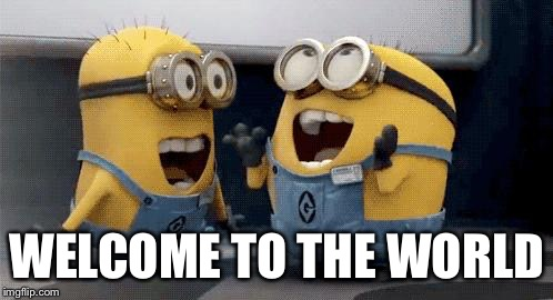Excited Minions | WELCOME TO THE WORLD | image tagged in memes,excited minions | made w/ Imgflip meme maker
