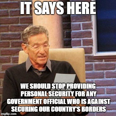 If You Build it, They Can't Come | IT SAYS HERE WE SHOULD STOP PROVIDING PERSONAL SECURITY FOR ANY GOVERNMENT OFFICIAL WHO IS AGAINST SECURING OUR COUNTRY'S BORDERS | image tagged in memes,maury lie detector,build the wall,secure the border,get to work,government shutdown | made w/ Imgflip meme maker