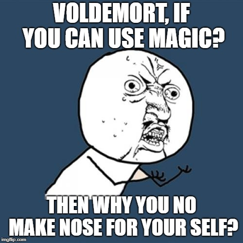 Y U No Meme | VOLDEMORT, IF YOU CAN USE MAGIC? THEN WHY YOU NO MAKE NOSE FOR YOUR SELF? | image tagged in memes,y u no | made w/ Imgflip meme maker