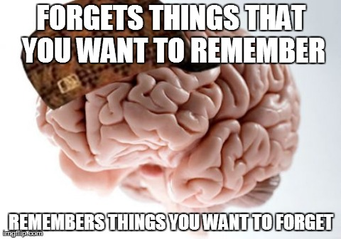 Scumbag Brain | FORGETS THINGS THAT YOU WANT TO REMEMBER REMEMBERS THINGS YOU WANT TO FORGET | image tagged in memes,scumbag brain | made w/ Imgflip meme maker
