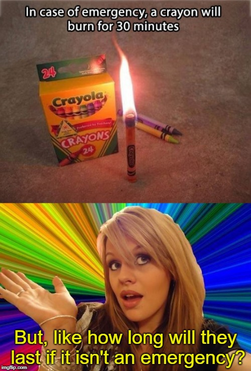 Emergency Candles | But, like how long will they last if it isn't an emergency? | image tagged in memes,dumb blonde,emergency,candles | made w/ Imgflip meme maker