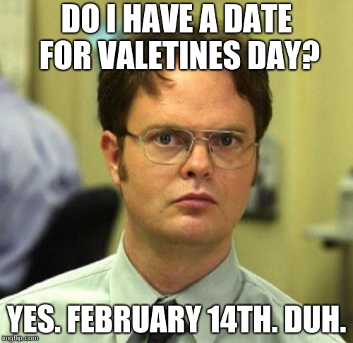 False | DO I HAVE A DATE FOR VALETINES DAY? YES. FEBRUARY 14TH. DUH. | image tagged in false | made w/ Imgflip meme maker