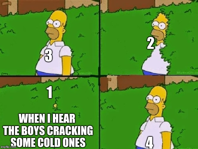 HOMER BUSH |  2; 3; 1; 4; WHEN I HEAR THE BOYS CRACKING SOME COLD ONES | image tagged in homer bush | made w/ Imgflip meme maker