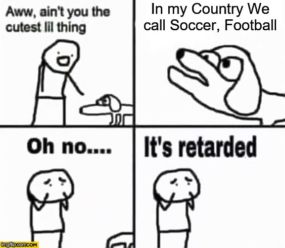 Oh no it's retarded! | In my Country We call Soccer, Football | image tagged in oh no it's retarded,memes,dogs,soccer,football | made w/ Imgflip meme maker