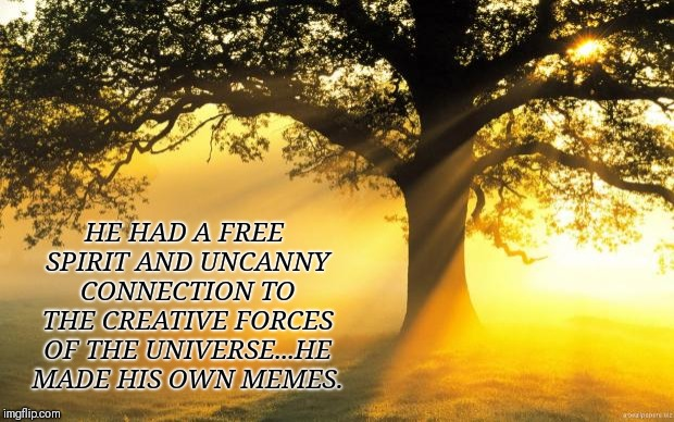 nature |  HE HAD A FREE SPIRIT AND UNCANNY CONNECTION TO THE CREATIVE FORCES OF THE UNIVERSE...HE MADE HIS OWN MEMES. | image tagged in nature,motivation,motivational,demotivationals | made w/ Imgflip meme maker