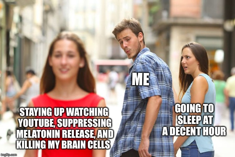 Just psychology things  | STAYING UP WATCHING YOUTUBE, SUPPRESSING MELATONIN RELEASE, AND KILLING MY BRAIN CELLS ME GOING TO SLEEP AT A DECENT HOUR | image tagged in memes,distracted boyfriend,psychology,sleep,melatonin,youtube | made w/ Imgflip meme maker