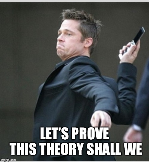 Brad Pitt throwing phone | LET'S PROVE THIS THEORY SHALL WE | image tagged in brad pitt throwing phone | made w/ Imgflip meme maker