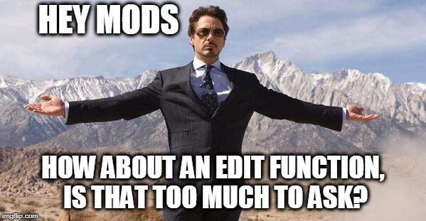 How About This?  | HEY MODS HOW ABOUT AN EDIT FUNCTION, IS THAT TOO MUCH TO ASK? | image tagged in memes,imgflip | made w/ Imgflip meme maker