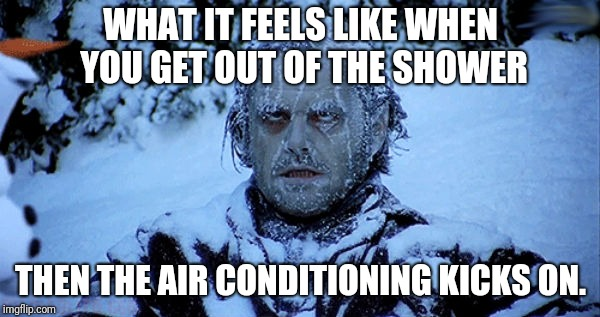 I always dread it. |  WHAT IT FEELS LIKE WHEN YOU GET OUT OF THE SHOWER; THEN THE AIR CONDITIONING KICKS ON. | image tagged in freezing cold,shower,air conditioner | made w/ Imgflip meme maker
