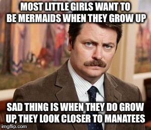 I'm only referring to the ugly gals | MOST LITTLE GIRLS WANT TO BE MERMAIDS WHEN THEY GROW UP SAD THING IS WHEN THEY DO GROW UP, THEY LOOK CLOSER TO MANATEES | image tagged in memes,ron swanson,mermaids,manatees,obesity | made w/ Imgflip meme maker