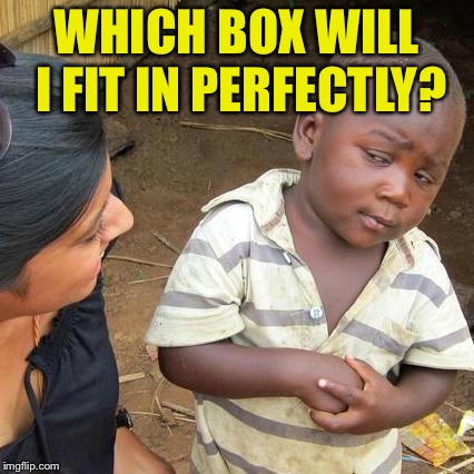Third World Skeptical Kid Meme | WHICH BOX WILL I FIT IN PERFECTLY? | image tagged in memes,third world skeptical kid | made w/ Imgflip meme maker