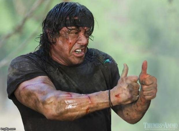 Thumbs Up Rambo | , | image tagged in thumbs up rambo | made w/ Imgflip meme maker