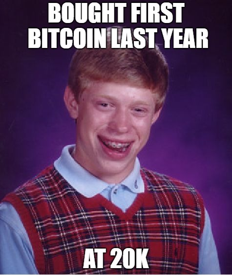 Bad Luck Bitcoin Brian | BOUGHT FIRST BITCOIN LAST YEAR AT 20K | image tagged in memes,bad luck brian,bitcoin,hodl,btc | made w/ Imgflip meme maker