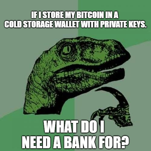 Bitcoinaraptor | IF I STORE MY BITCOIN IN A COLD STORAGE WALLET WITH PRIVATE KEYS. WHAT DO I NEED A BANK FOR? | image tagged in memes,philosoraptor,bitcoin,btc,hodl | made w/ Imgflip meme maker