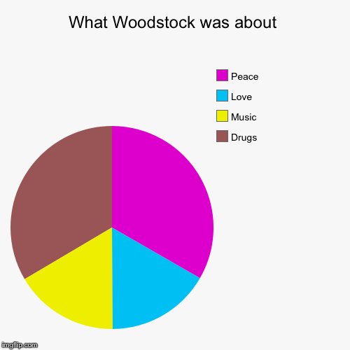 Woodstock | What Woodstock was about | Drugs, Music, Love , Peace | image tagged in funny,pie charts,woodstock,peace,love | made w/ Imgflip chart maker