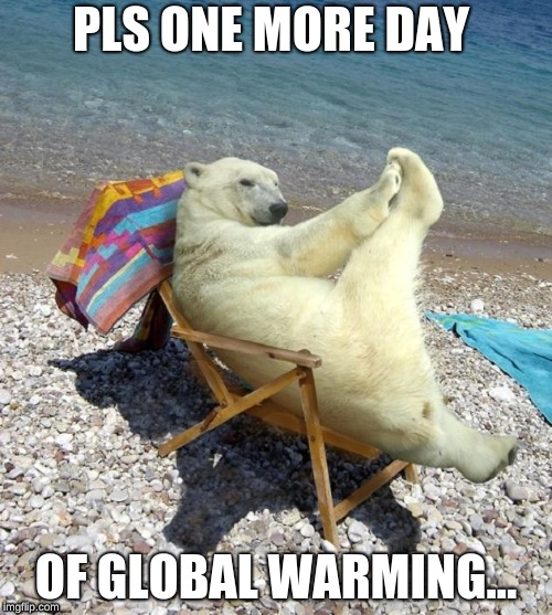 ONE MORE DAY OF GLOBAL WARMING! | PLS ONE MORE DAY OF GLOBAL WARMING... | image tagged in polar bear,global warming,easy,chill | made w/ Imgflip meme maker