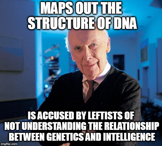 MAPS OUT THE STRUCTURE OF DNA IS ACCUSED BY LEFTISTS OF NOT UNDERSTANDING THE RELATIONSHIP BETWEEN GENETICS AND INTELLIGENCE | image tagged in dna | made w/ Imgflip meme maker