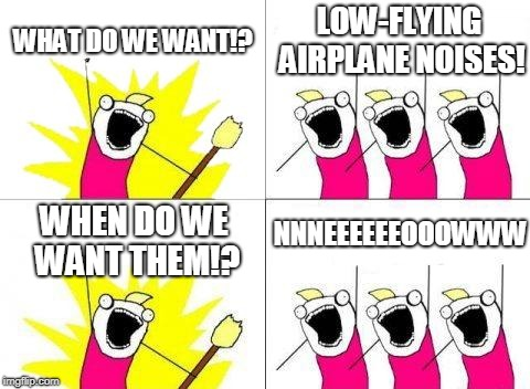 Negative Ghost Rider, the pattern is full | WHAT DO WE WANT!? LOW-FLYING AIRPLANE NOISES! WHEN DO WE WANT THEM!? NNNEEEEEEOOOWWW | image tagged in what do we want,airplane,bad pun,protest,top gun | made w/ Imgflip meme maker