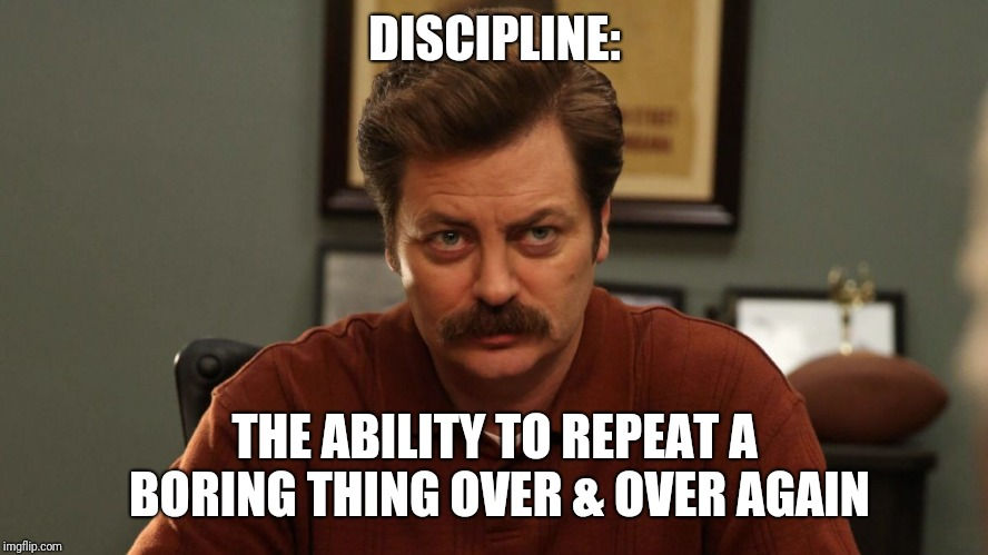 Ron Swanson | DISCIPLINE: THE ABILITY TO REPEAT A BORING THING OVER & OVER AGAIN | image tagged in ron swanson | made w/ Imgflip meme maker