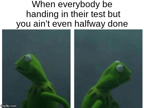 Kermit Freaking Out | When everybody be handing in their test but you ain't even halfway done | image tagged in kermit,memes,tests,other | made w/ Imgflip meme maker
