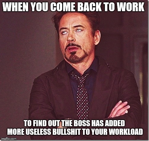 robert downy jr meme eye roll  | WHEN YOU COME BACK TO WORK TO FIND OUT THE BOSS HAS ADDED MORE USELESS BULLSHIT TO YOUR WORKLOAD | image tagged in robert downy jr meme eye roll,memes,funny memes,work | made w/ Imgflip meme maker