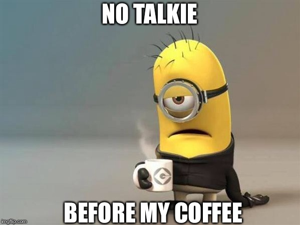 minion coffee | NO TALKIE BEFORE MY COFFEE | image tagged in minion coffee | made w/ Imgflip meme maker