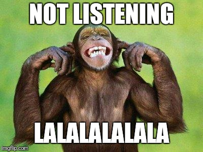 Not Listening Chimp | NOT LISTENING LALALALALALA | image tagged in not listening chimp | made w/ Imgflip meme maker