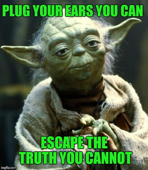 Star Wars Yoda Meme | PLUG YOUR EARS YOU CAN ESCAPE THE TRUTH YOU CANNOT | image tagged in memes,star wars yoda | made w/ Imgflip meme maker