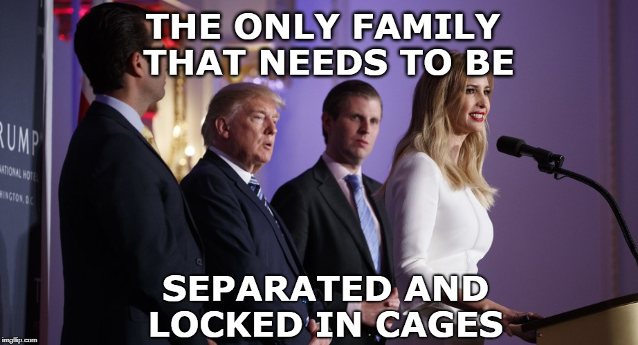 Lock Up The Trumps | THE ONLY FAMILY THAT NEEDS TO BE SEPARATED AND LOCKED IN CAGES | image tagged in criminals,trump family,crooks,liars,greedy pigs,family separation | made w/ Imgflip meme maker