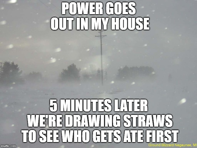 Donner Party Over Here Y'all | POWER GOES OUT IN MY HOUSE 5 MINUTES LATER WE'RE DRAWING STRAWS TO SEE WHO GETS ATE FIRST | image tagged in snow blizzard | made w/ Imgflip meme maker