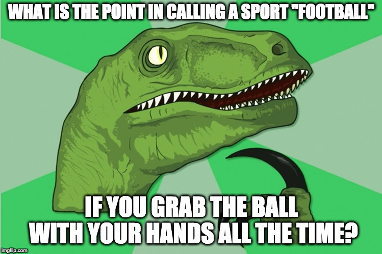 "Yeah, well, you can't blame me for wondering about this | WHAT IS THE POINT IN CALLING A SPORT ""FOOTBALL"" IF YOU GRAB THE BALL WITH YOUR HANDS ALL THE TIME? 