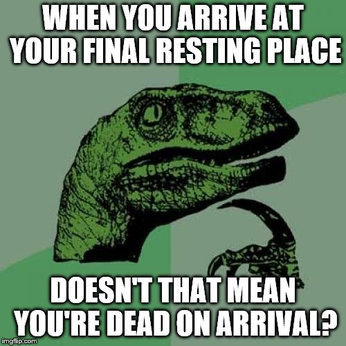 I'm being dead serious | WHEN YOU ARRIVE AT YOUR FINAL RESTING PLACE DOESN'T THAT MEAN YOU'RE DEAD ON ARRIVAL? | image tagged in memes,philosoraptor,cemetery | made w/ Imgflip meme maker
